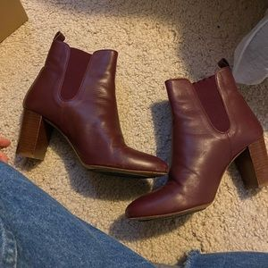 Sezane Red Leather Boots